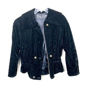 KAOS By Andy John's black velvet quilted jacket